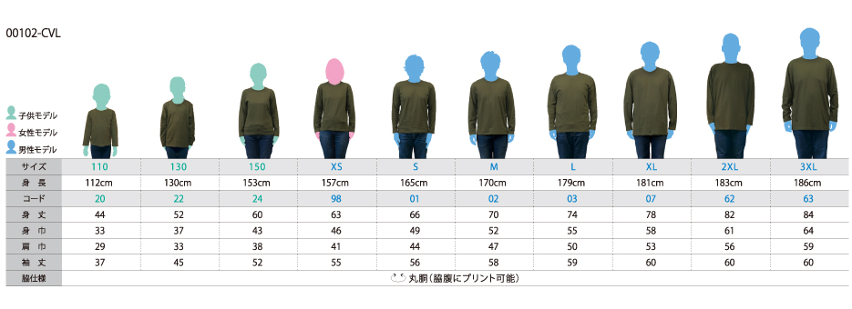 102-CVL サイズ表
