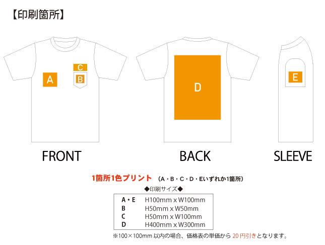 5.6ozヘビーウェイトポケットTシャツ 印刷範囲